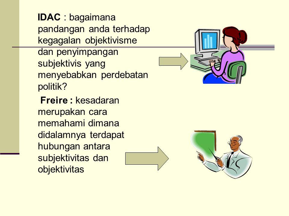 IDAC : bagaimana pandangan anda terhadap kegagalan objektivisme dan penyimpangan subjektivis yang menyebabkan perdebatan politik