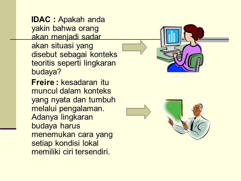 IDAC : Apakah anda yakin bahwa orang akan menjadi sadar akan situasi yang disebut sebagai konteks teoritis seperti lingkaran budaya