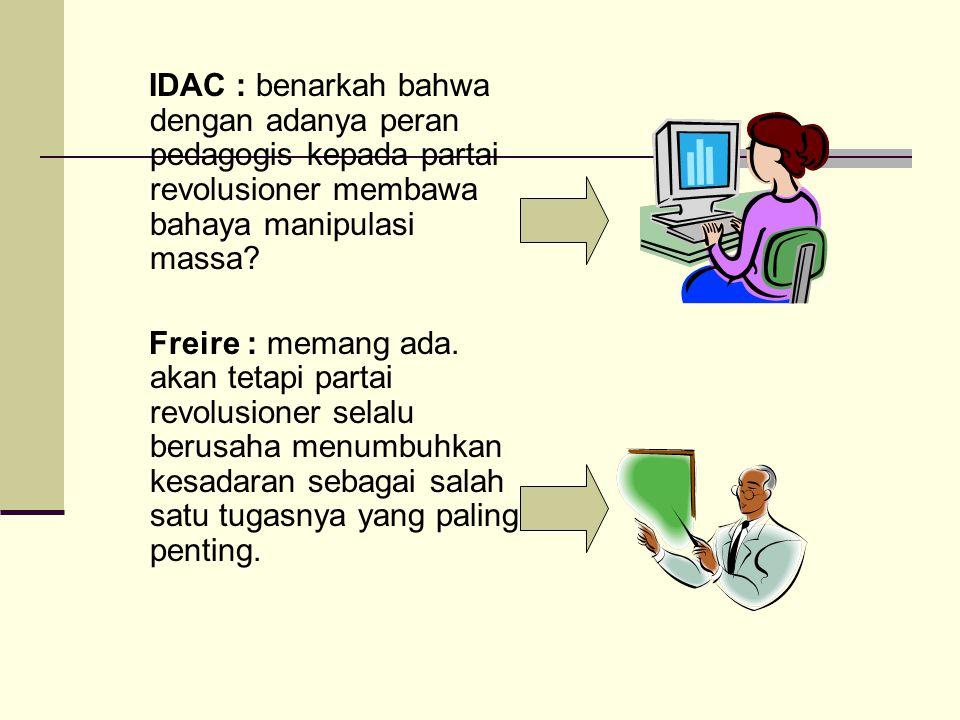 IDAC : benarkah bahwa dengan adanya peran pedagogis kepada partai revolusioner membawa bahaya manipulasi massa