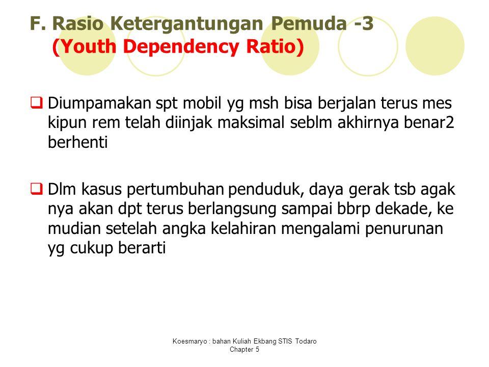 F. Rasio Ketergantungan Pemuda -3 (Youth Dependency Ratio)