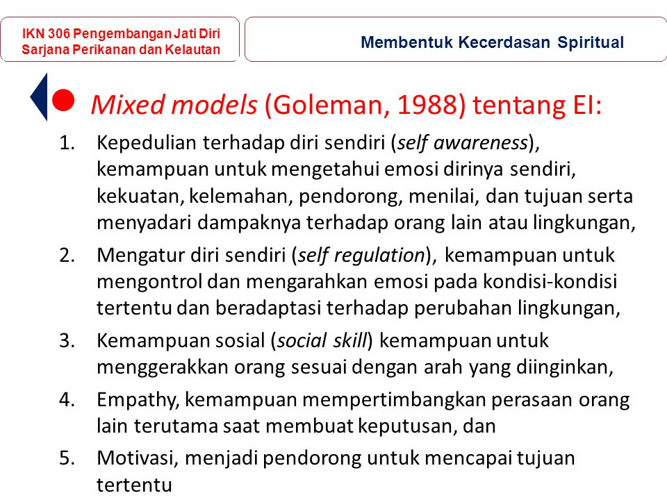 Mixed models (Goleman, 1988) tentang EI:
