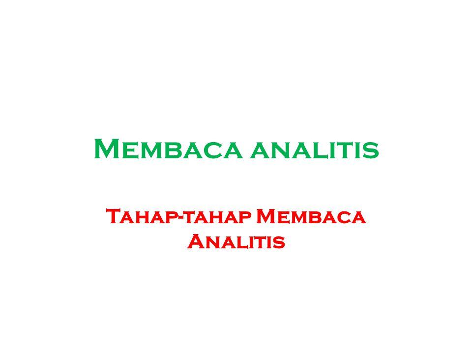 Tahap-tahap Membaca Analitis