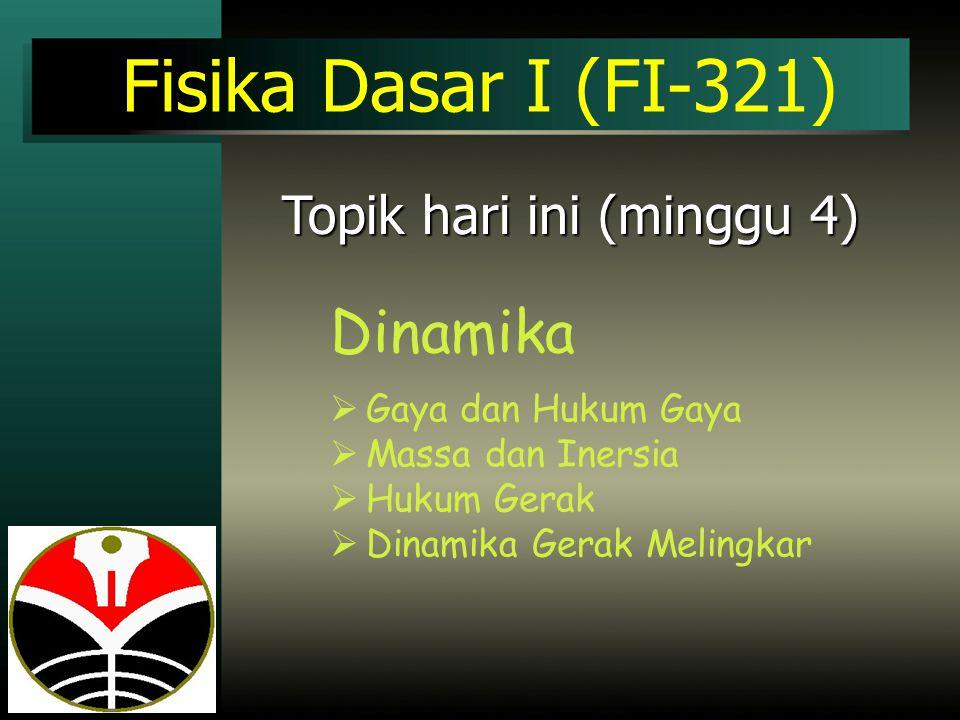 Fisika Dasar I (FI-321) Dinamika Topik hari ini (minggu 4)