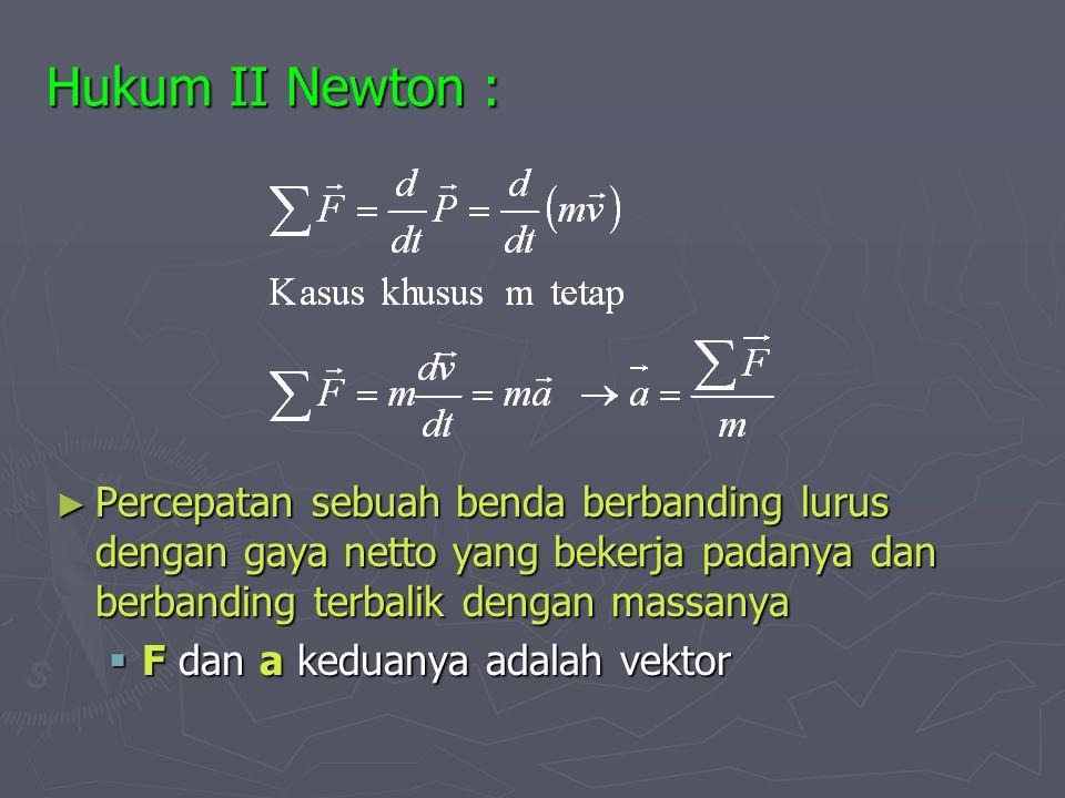 Hukum II Newton : Percepatan sebuah benda berbanding lurus dengan gaya netto yang bekerja padanya dan berbanding terbalik dengan massanya.