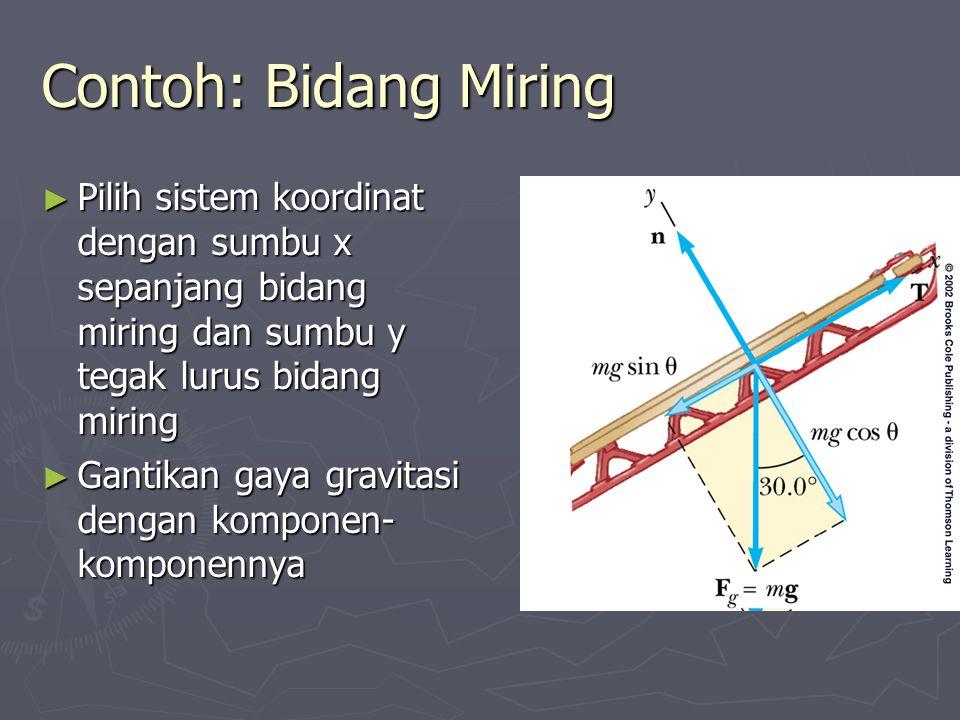 Contoh: Bidang Miring Pilih sistem koordinat dengan sumbu x sepanjang bidang miring dan sumbu y tegak lurus bidang miring.