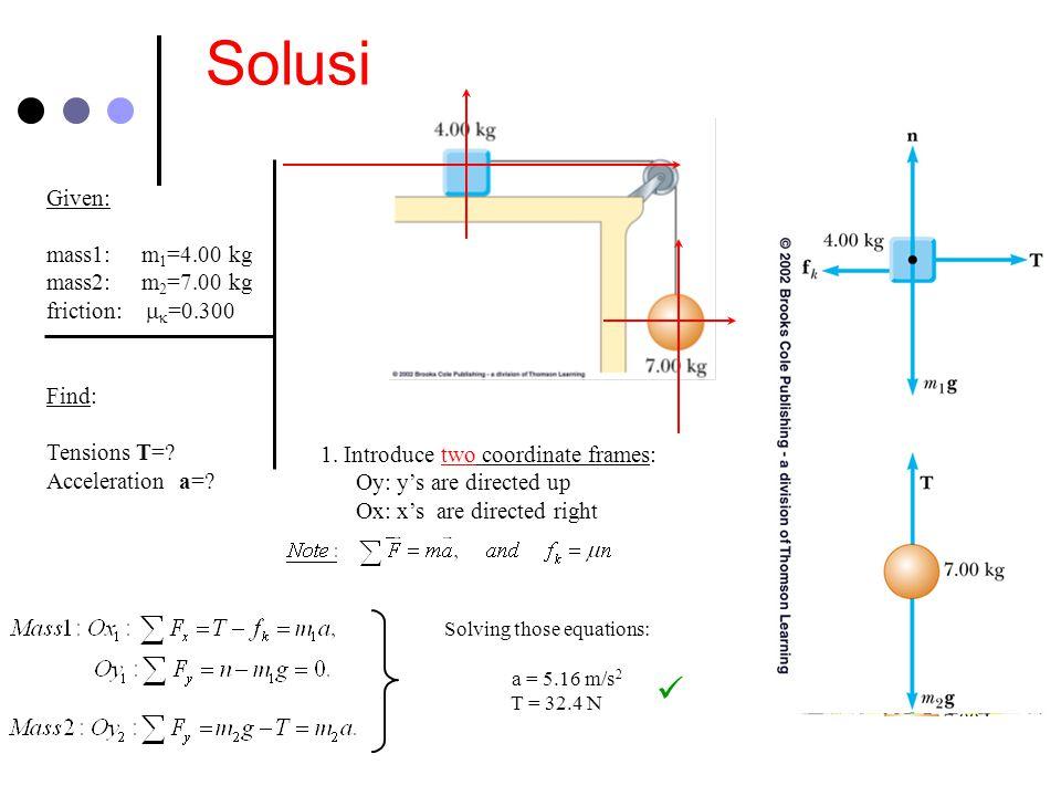 Solusi Given: mass1: m1=4.00 kg mass2: m2=7.00 kg friction: mk=0.300