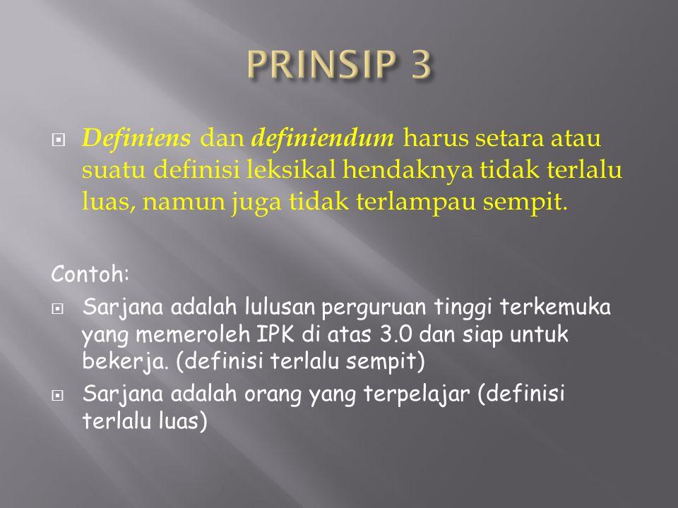 PRINSIP 3 Definiens dan definiendum harus setara atau suatu definisi leksikal hendaknya tidak terlalu luas, namun juga tidak terlampau sempit.