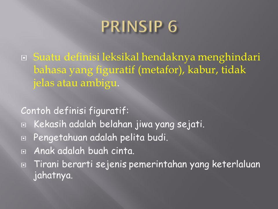 PRINSIP 6 Suatu definisi leksikal hendaknya menghindari bahasa yang figuratif (metafor), kabur, tidak jelas atau ambigu.