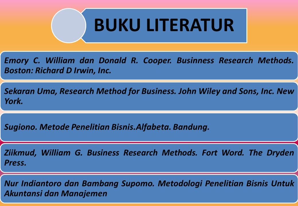BUKU LITERATUR Emory C. William dan Donald R. Cooper. Businness Research Methods. Boston: Richard D Irwin, Inc.