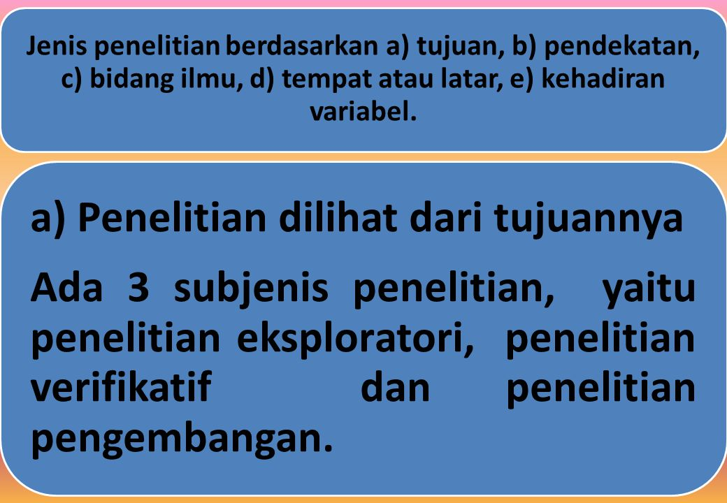Jenis penelitian berdasarkan a) tujuan, b) pendekatan, c) bidang ilmu, d) tempat atau latar, e) kehadiran variabel.