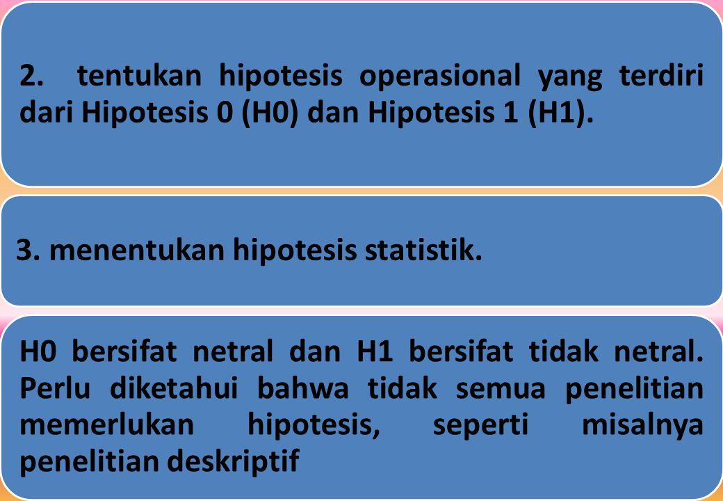 2. tentukan hipotesis operasional yang terdiri dari Hipotesis 0 (H0) dan Hipotesis 1 (H1).