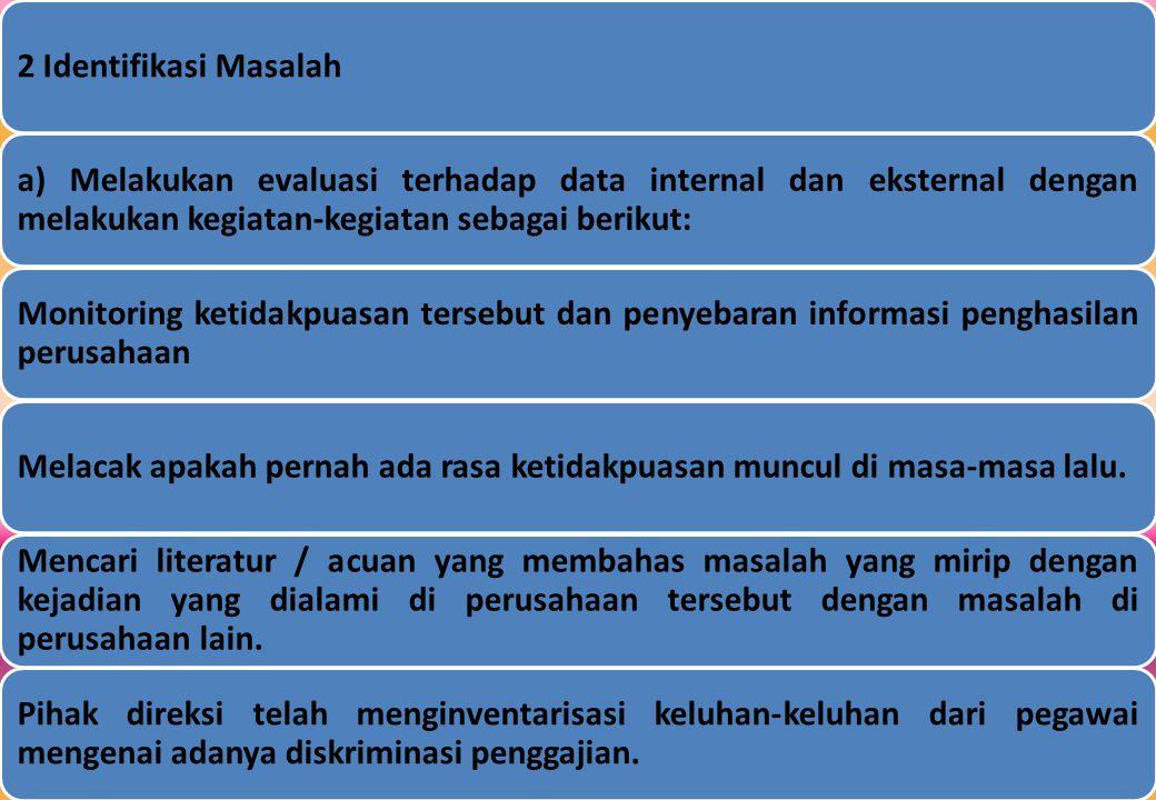 2 Identifikasi Masalah a) Melakukan evaluasi terhadap data internal dan eksternal dengan melakukan kegiatan-kegiatan sebagai berikut: