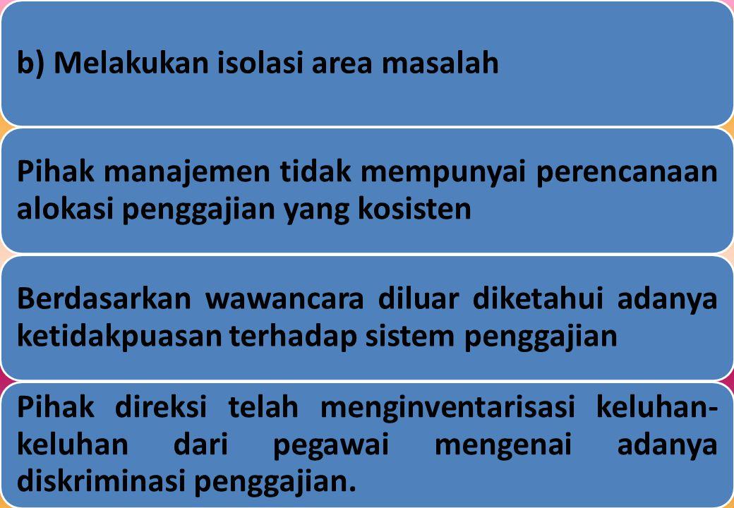 b) Melakukan isolasi area masalah