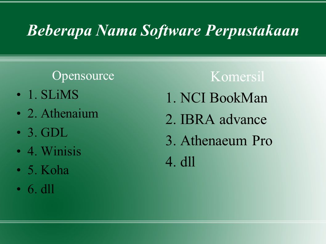 Beberapa Nama Software Perpustakaan