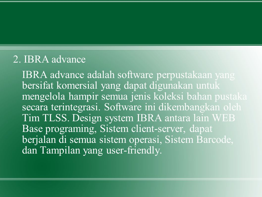 2. IBRA advance
