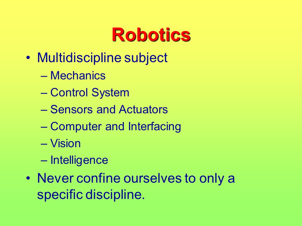 Robotics Multidiscipline subject