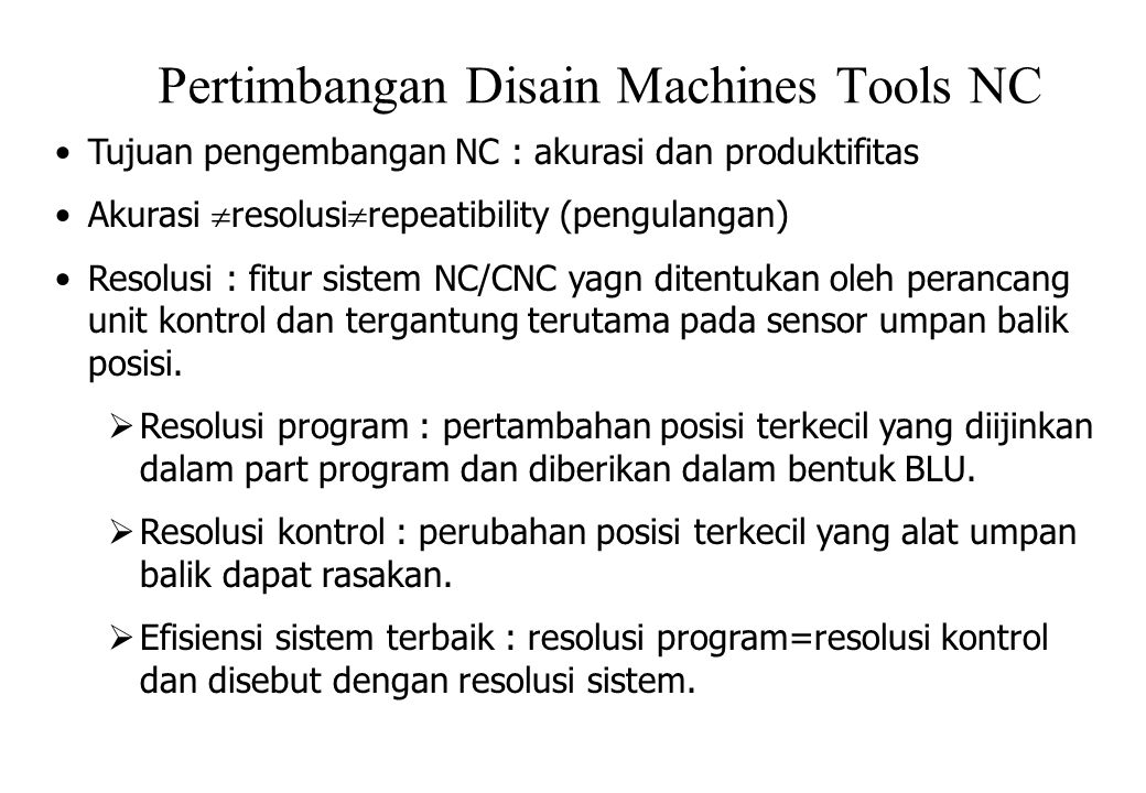 Pertimbangan Disain Machines Tools NC