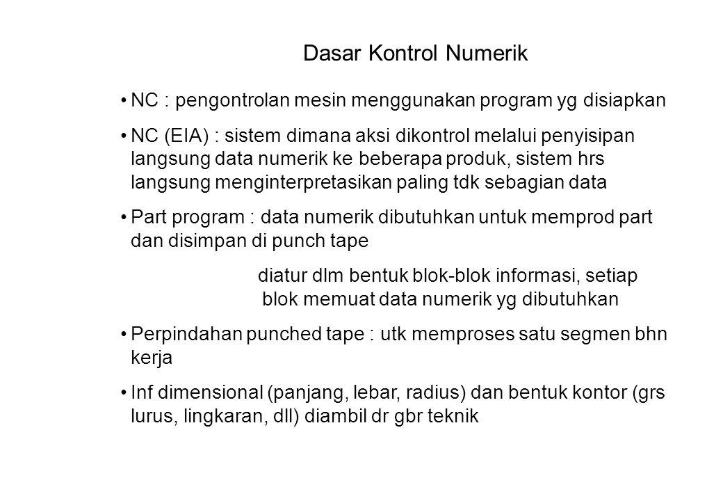 Dasar Kontrol Numerik NC : pengontrolan mesin menggunakan program yg disiapkan.