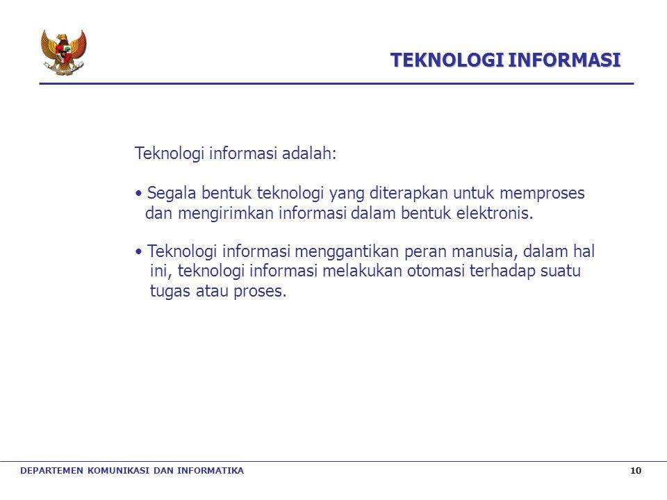 TEKNOLOGI INFORMASI Teknologi informasi adalah: