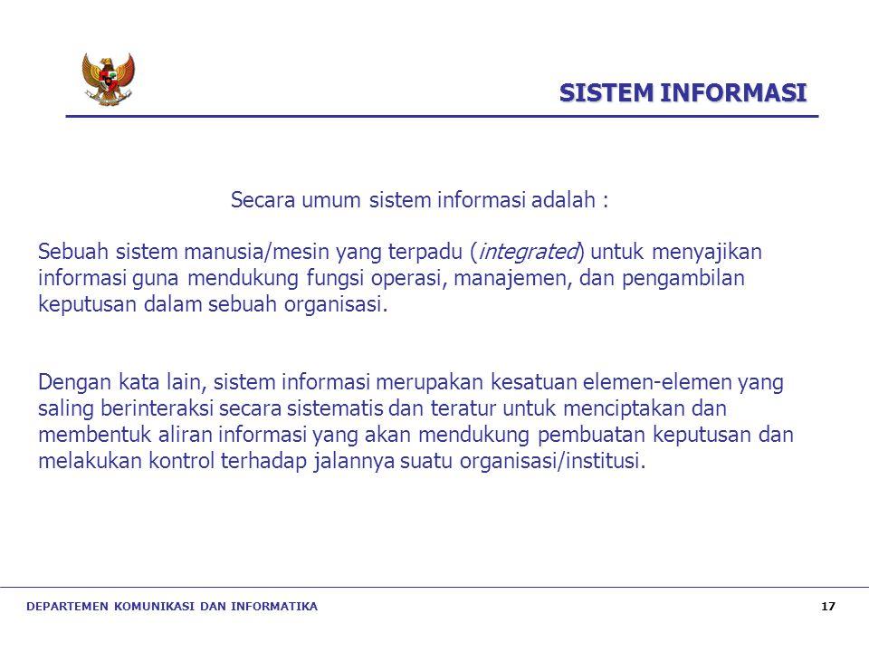 Secara umum sistem informasi adalah :