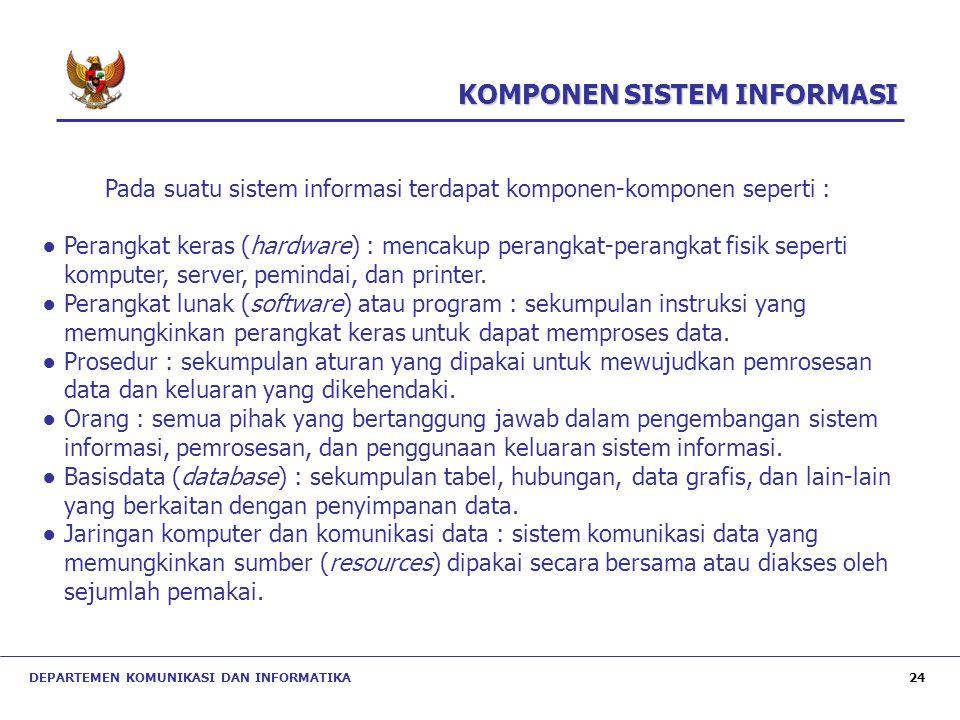 Pada suatu sistem informasi terdapat komponen-komponen seperti :