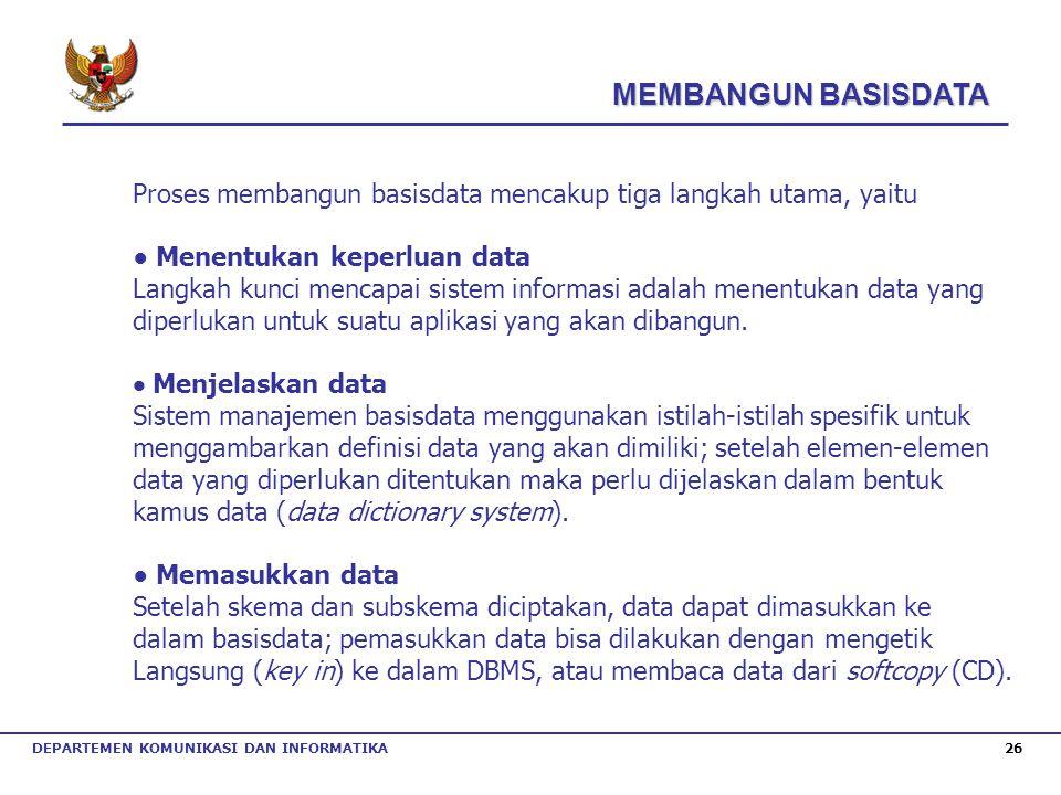 MEMBANGUN BASISDATA Proses membangun basisdata mencakup tiga langkah utama, yaitu. ● Menentukan keperluan data.