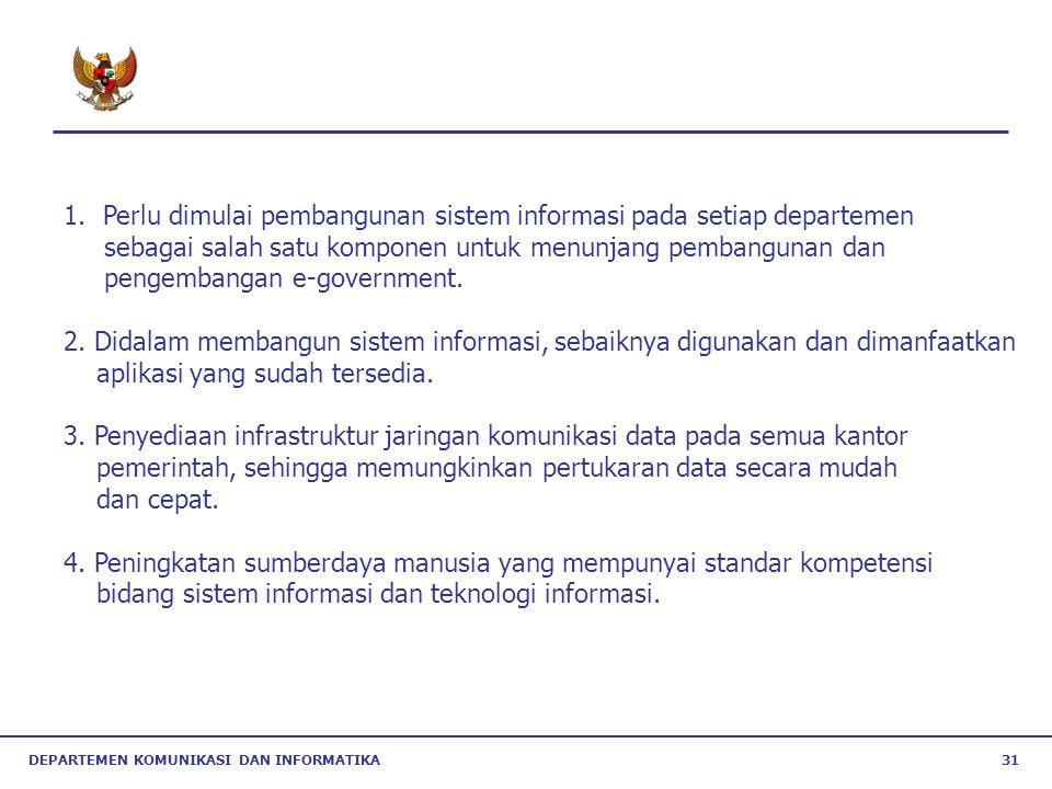 Perlu dimulai pembangunan sistem informasi pada setiap departemen