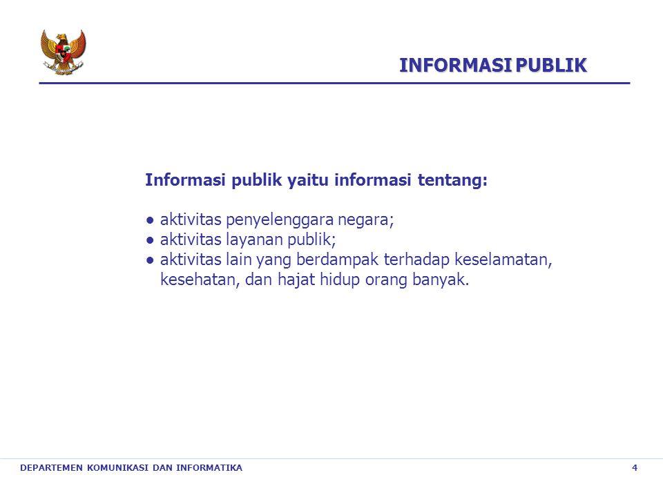 INFORMASI PUBLIK Informasi publik yaitu informasi tentang: