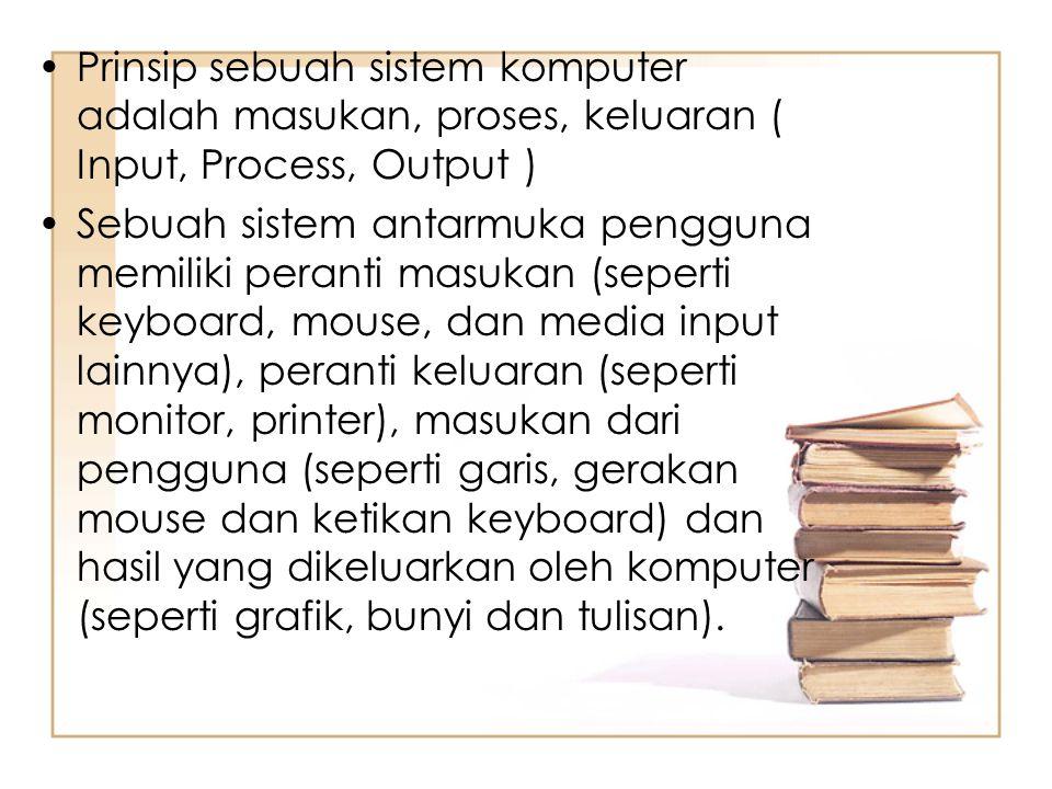 Prinsip sebuah sistem komputer adalah masukan, proses, keluaran ( Input, Process, Output )