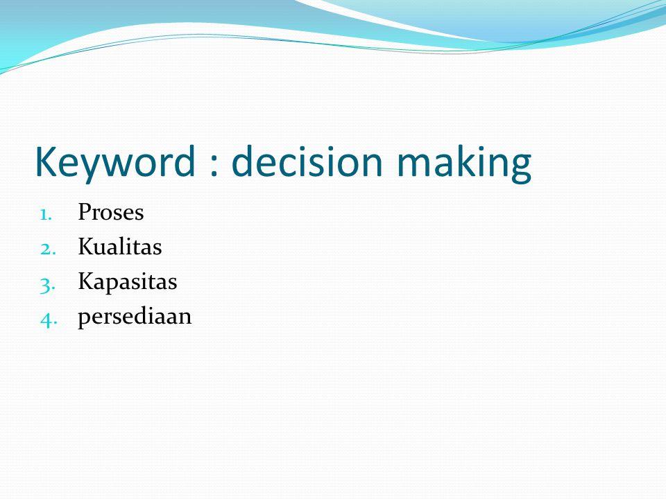 Keyword : decision making