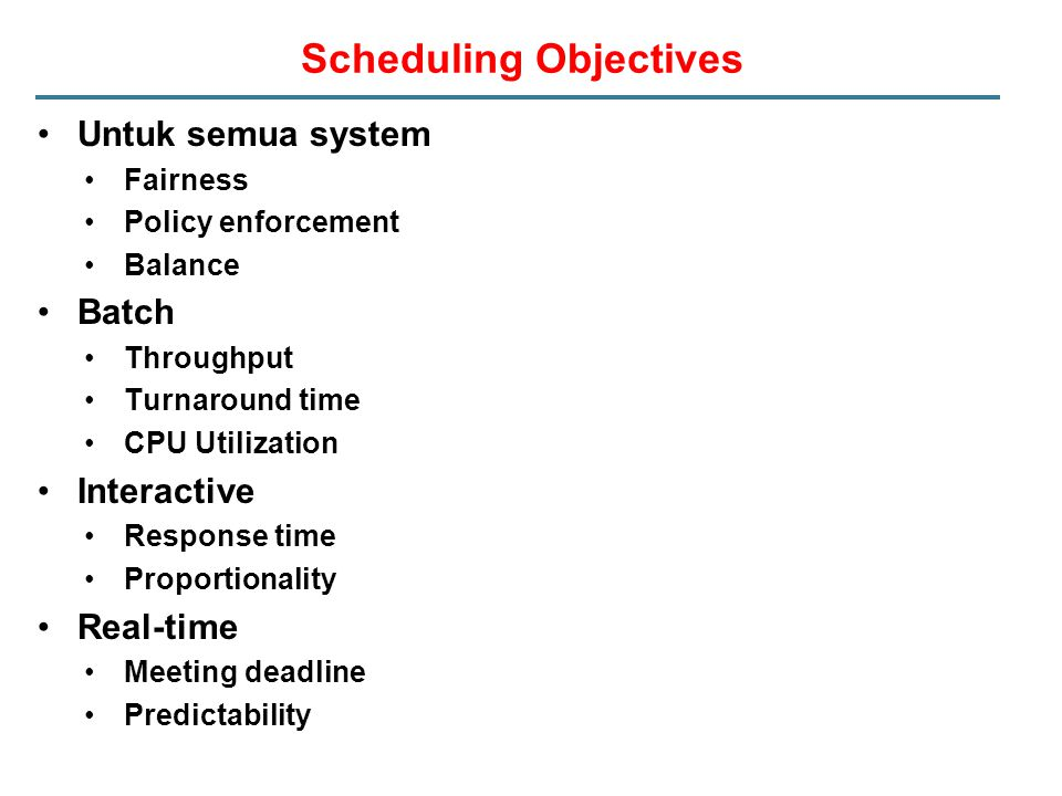 Scheduling Objectives