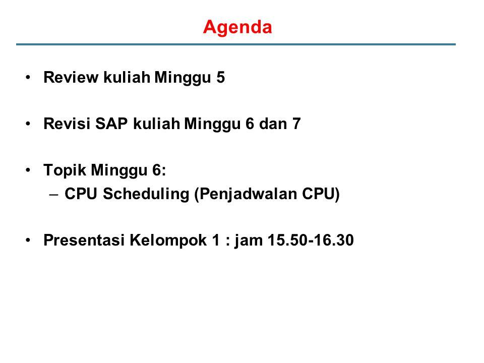 Agenda Review kuliah Minggu 5 Revisi SAP kuliah Minggu 6 dan 7