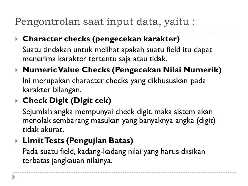 Pengontrolan saat input data, yaitu :