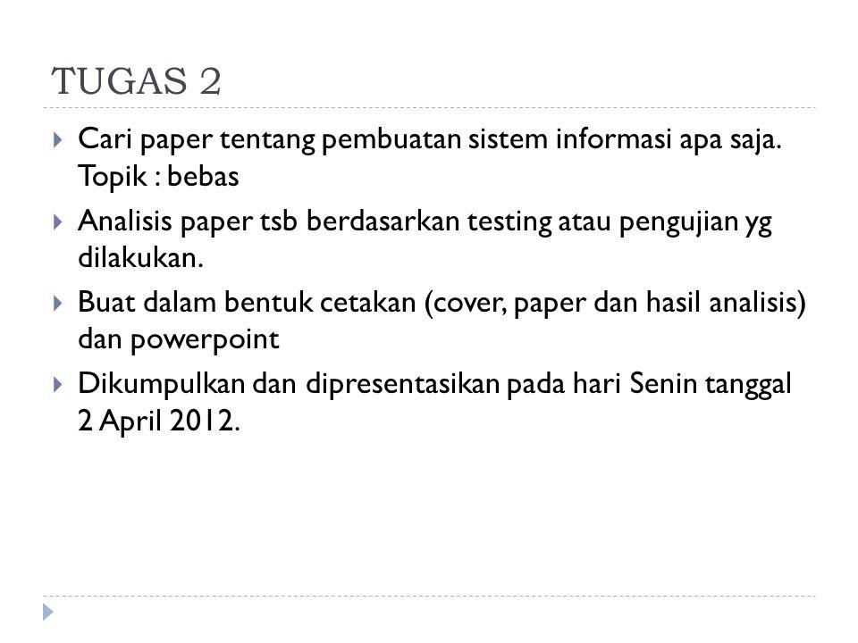TUGAS 2 Cari paper tentang pembuatan sistem informasi apa saja. Topik : bebas. Analisis paper tsb berdasarkan testing atau pengujian yg dilakukan.