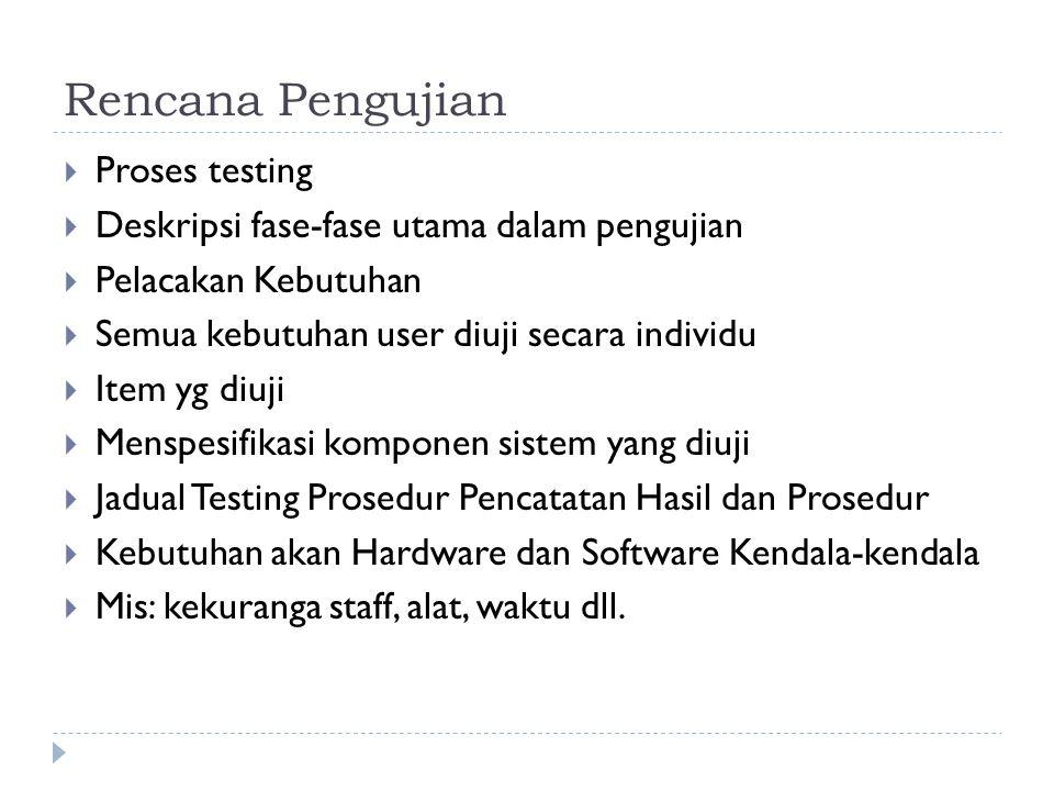 Rencana Pengujian Proses testing