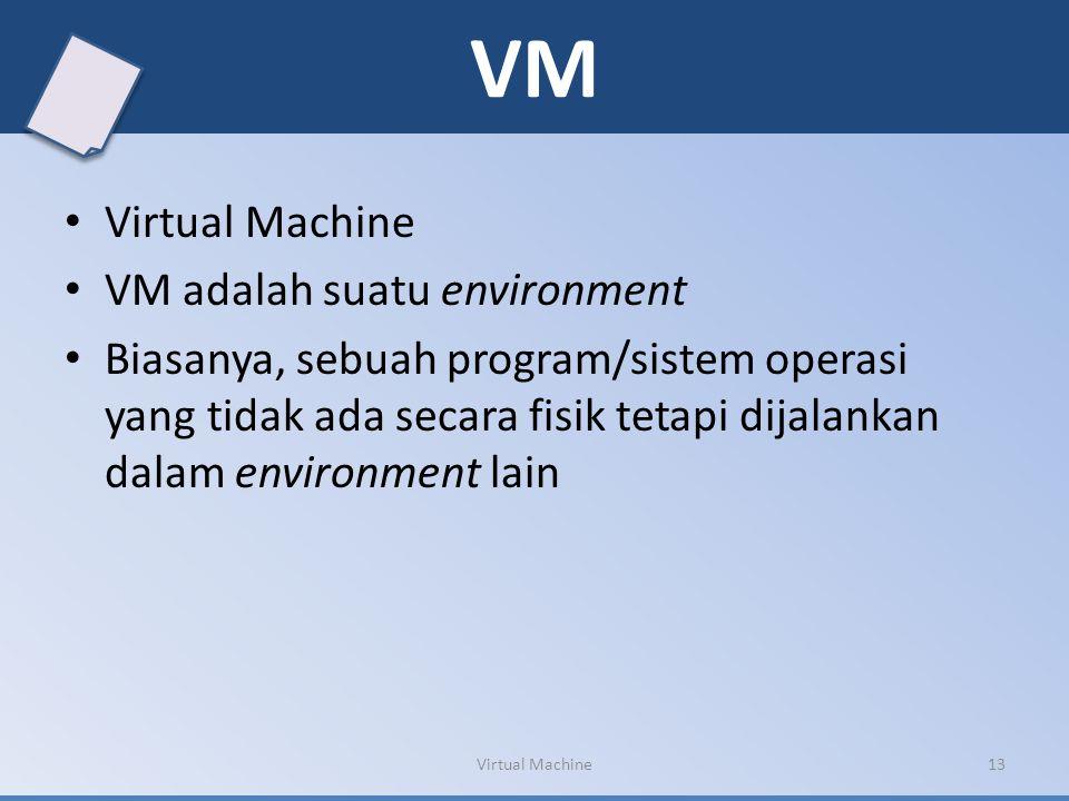 VM Virtual Machine VM adalah suatu environment