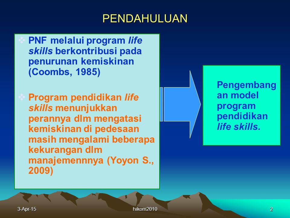PENDAHULUAN PNF melalui program life skills berkontribusi pada penurunan kemiskinan (Coombs, 1985)