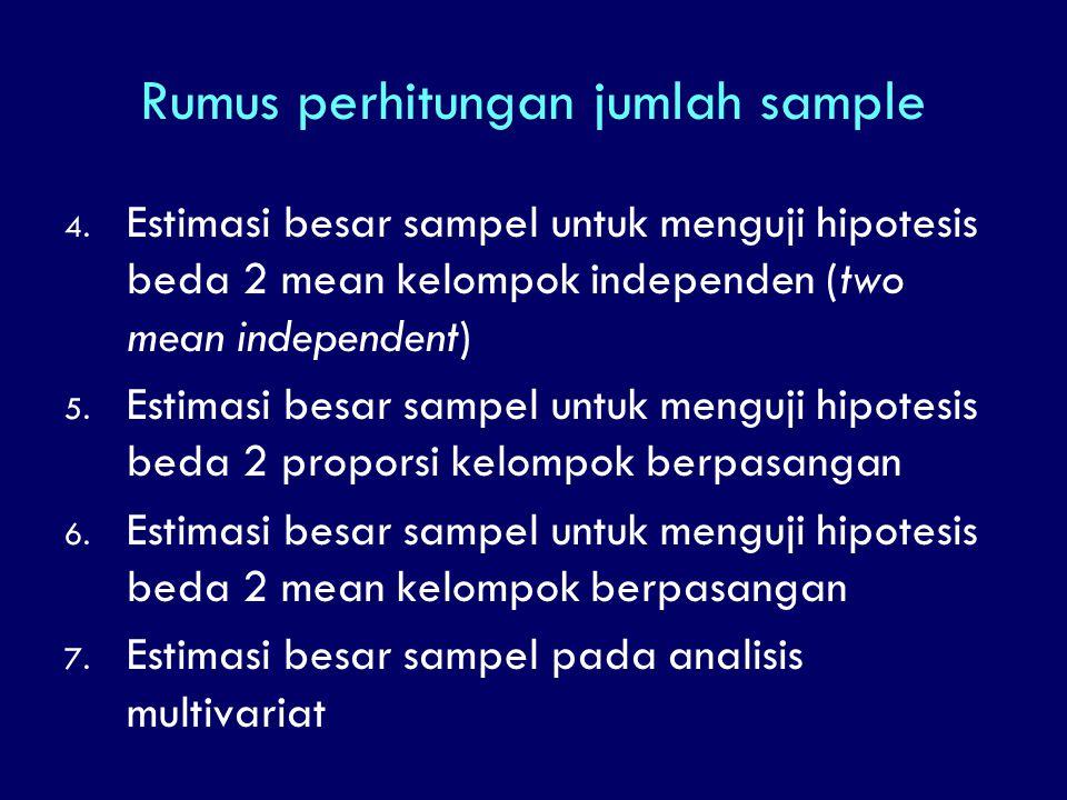 Rumus perhitungan jumlah sample