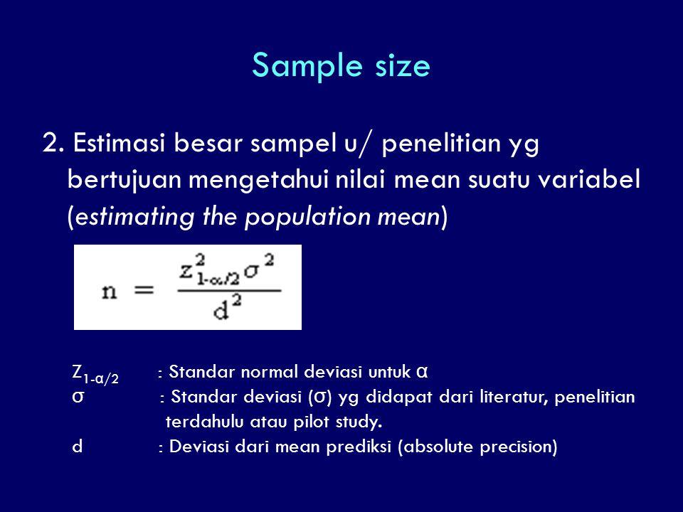 Sample size 2. Estimasi besar sampel u/ penelitian yg bertujuan mengetahui nilai mean suatu variabel (estimating the population mean)