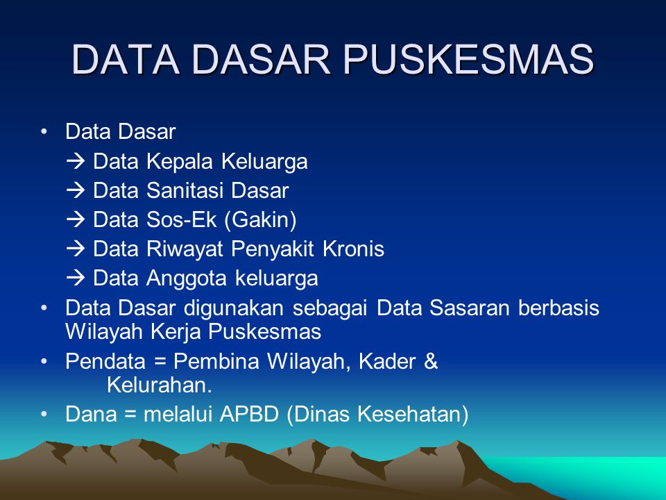 DATA DASAR PUSKESMAS Data Dasar  Data Kepala Keluarga