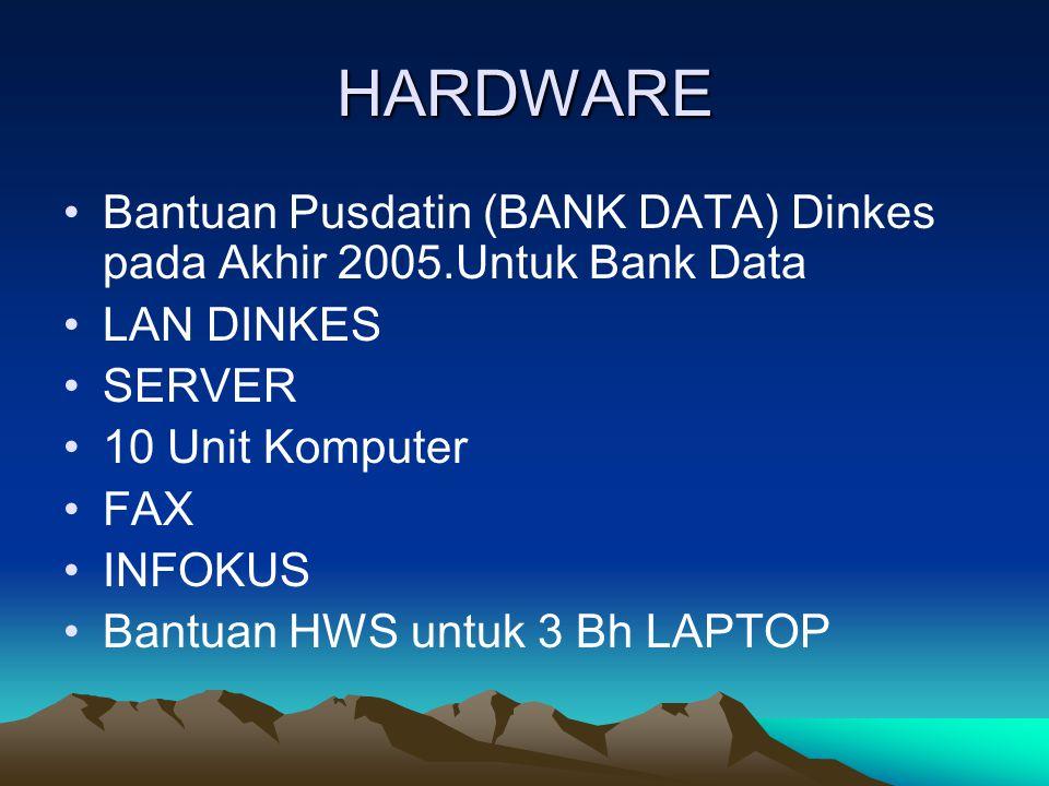 HARDWARE Bantuan Pusdatin (BANK DATA) Dinkes pada Akhir 2005.Untuk Bank Data. LAN DINKES. SERVER.