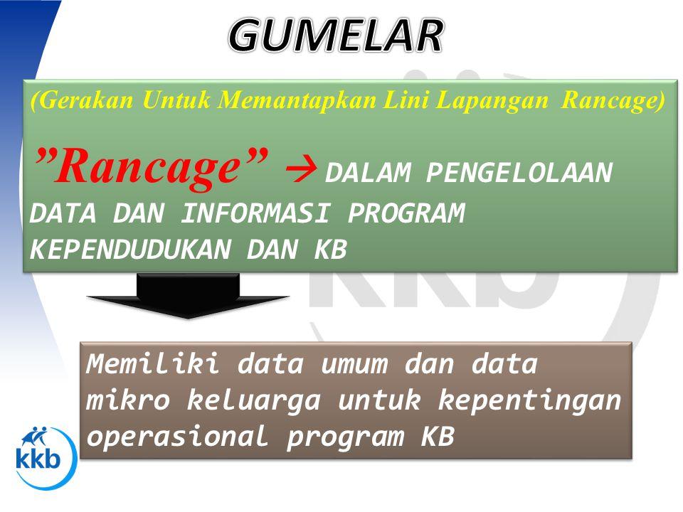 GUMELAR (Gerakan Untuk Memantapkan Lini Lapangan Rancage) Rancage  DALAM PENGELOLAAN DATA DAN INFORMASI PROGRAM KEPENDUDUKAN DAN KB.