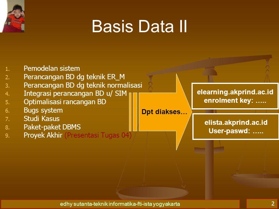 Basis Data II Pemodelan sistem Perancangan BD dg teknik ER_M