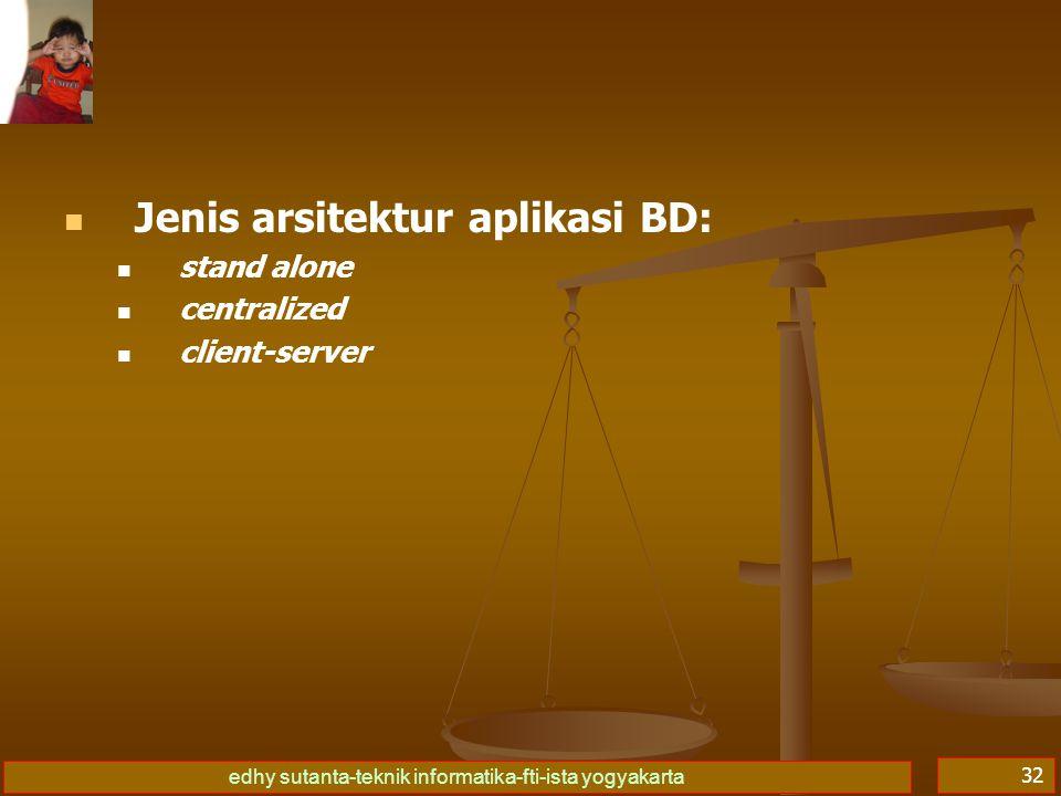Jenis arsitektur aplikasi BD: