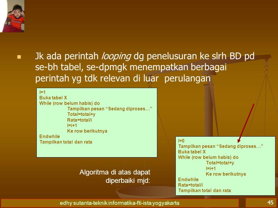 Jk ada perintah looping dg penelusuran ke slrh BD pd se-bh tabel, se-dpmgk menempatkan berbagai perintah yg tdk relevan di luar perulangan