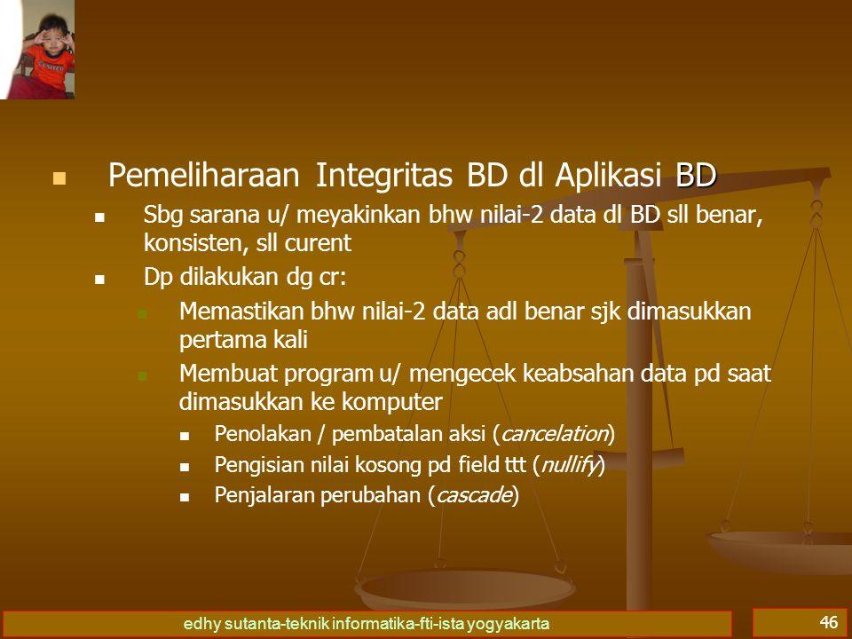 Pemeliharaan Integritas BD dl Aplikasi BD