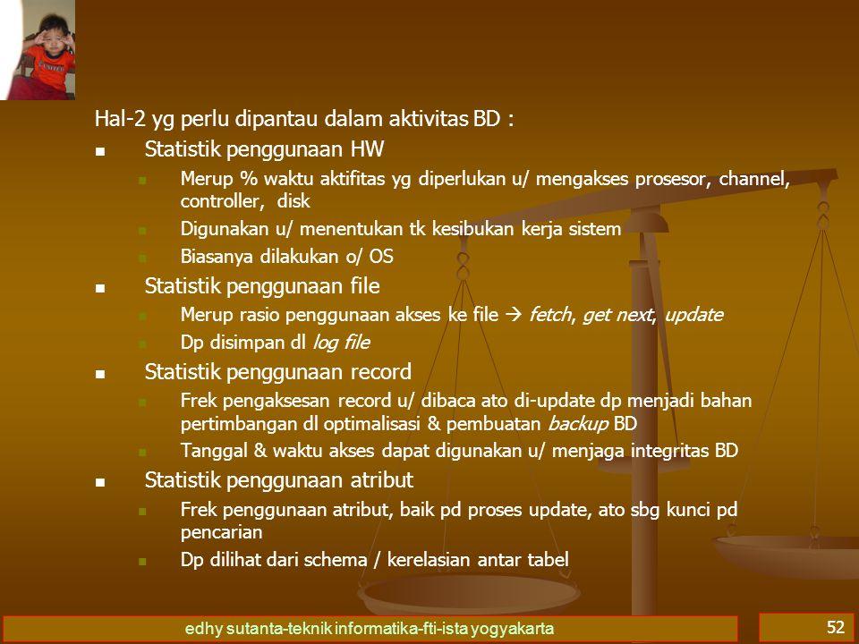 Hal-2 yg perlu dipantau dalam aktivitas BD : Statistik penggunaan HW