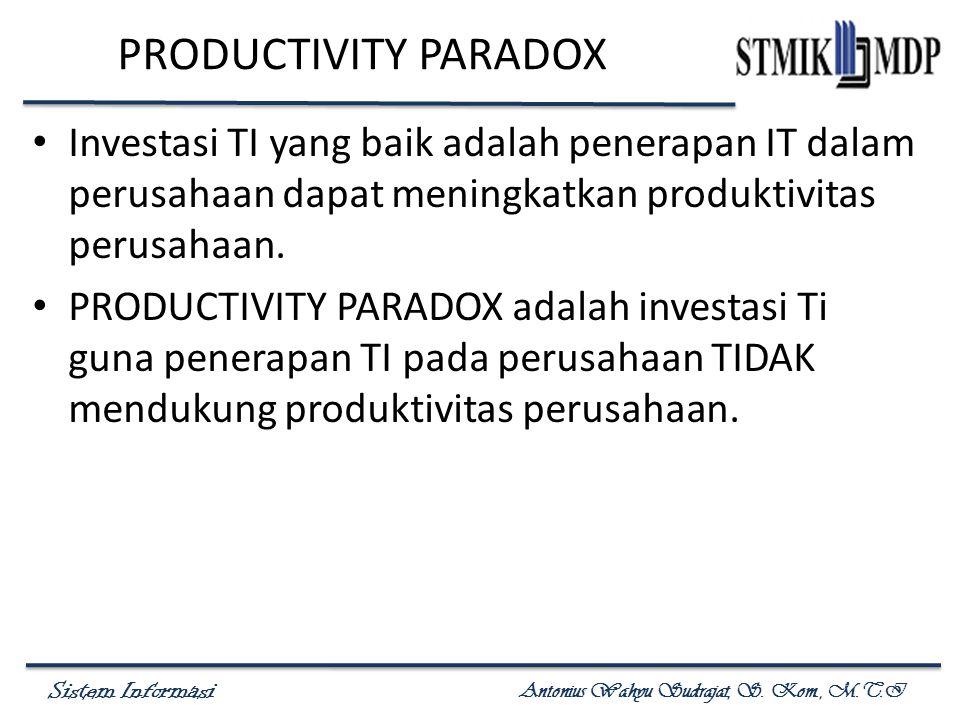 PRODUCTIVITY PARADOX Investasi TI yang baik adalah penerapan IT dalam perusahaan dapat meningkatkan produktivitas perusahaan.