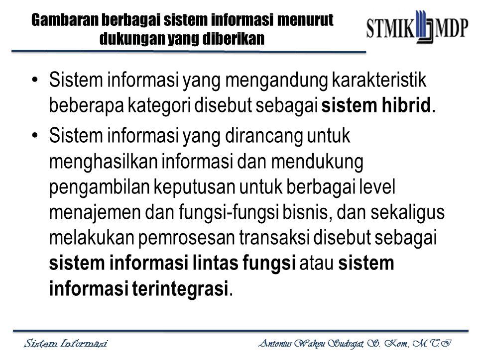 Gambaran berbagai sistem informasi menurut dukungan yang diberikan