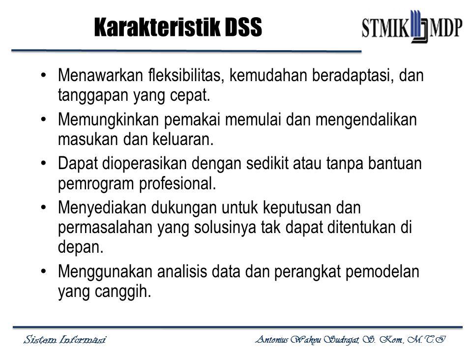 Karakteristik DSS Menawarkan fleksibilitas, kemudahan beradaptasi, dan tanggapan yang cepat.